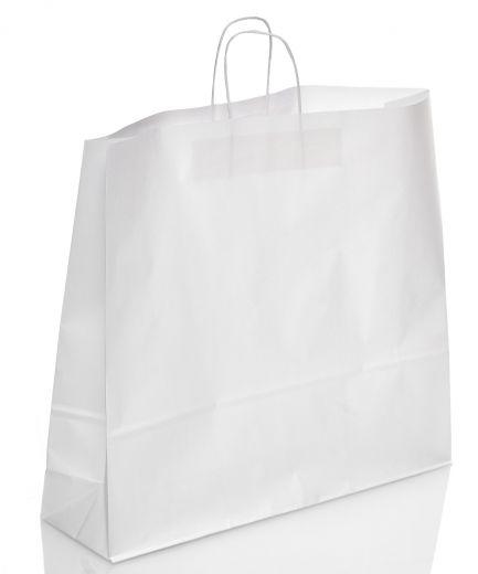 Tragetasche Papier weiß Papierkordel 54+15x49cm
