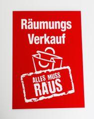 Plakat Karton DIN A4 Räumungsverkauf rot/weiß