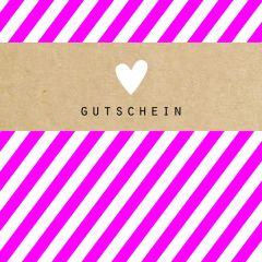 Gutschein Present Streifen pink