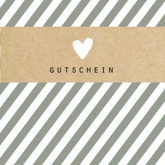 Gutschein Present Streifen grau
