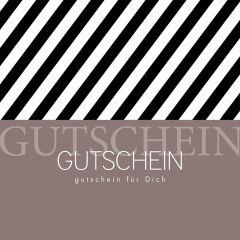 Gutschein Present Streifen schwarz