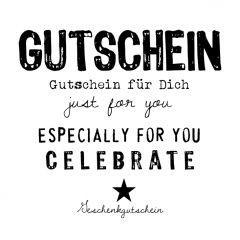 Gutschein Present weiß/schwarz mehrsprachig